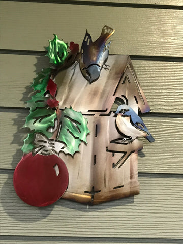 Metal Wall Art - Home for the Holidays Birdhouse - Metal Bird House Art