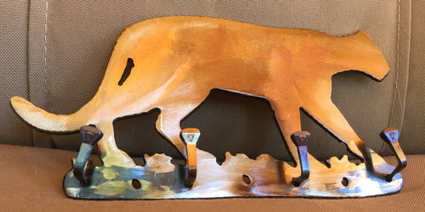 Metal Wall Art - Cougar Key Rack - Mountain Lion