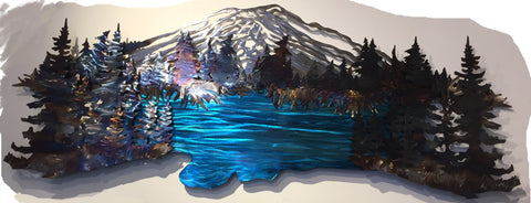 Metal Wall Art - Mt. Bachelor from Elk Lake