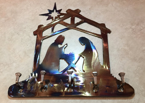 Metal Wall Art - Nativity Scene Key Rack