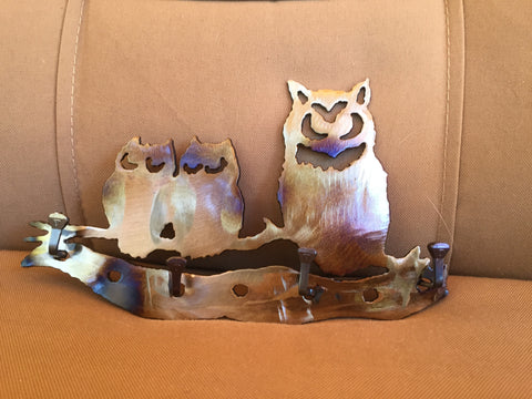 Metal Wall Art - Owl Key Rack - Leash Holder