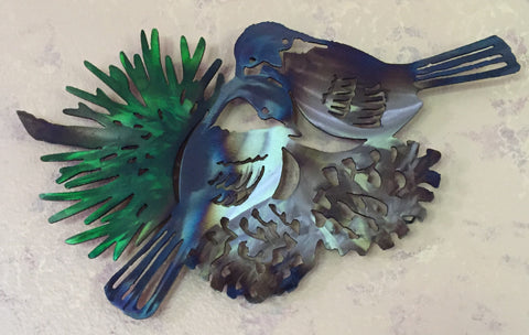 Metal Wall Art - Snuggle Time Birds - Metal Bird Art