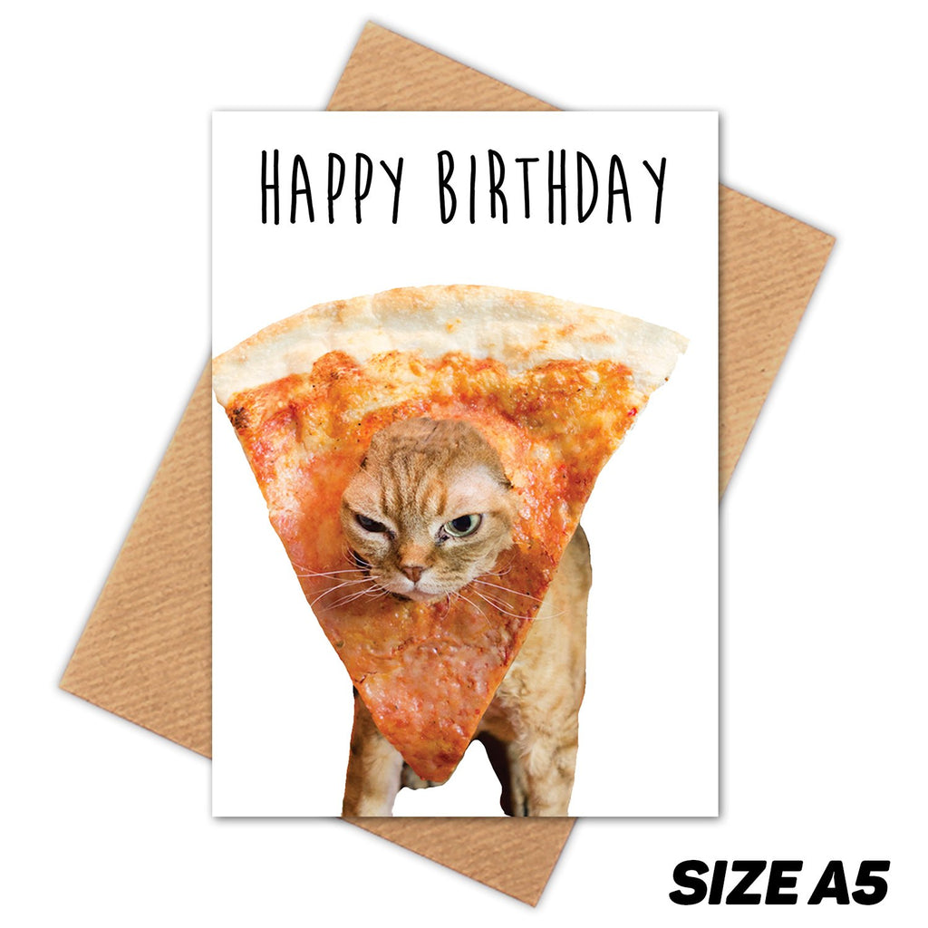 GINGER PIZZA CAT HAPPY BIRTHDAY CARD
