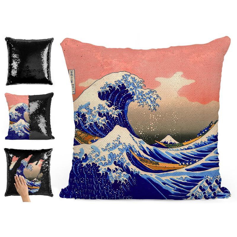 GREAT WAVE OFF KANAGAWA SEQUIN PILLOW