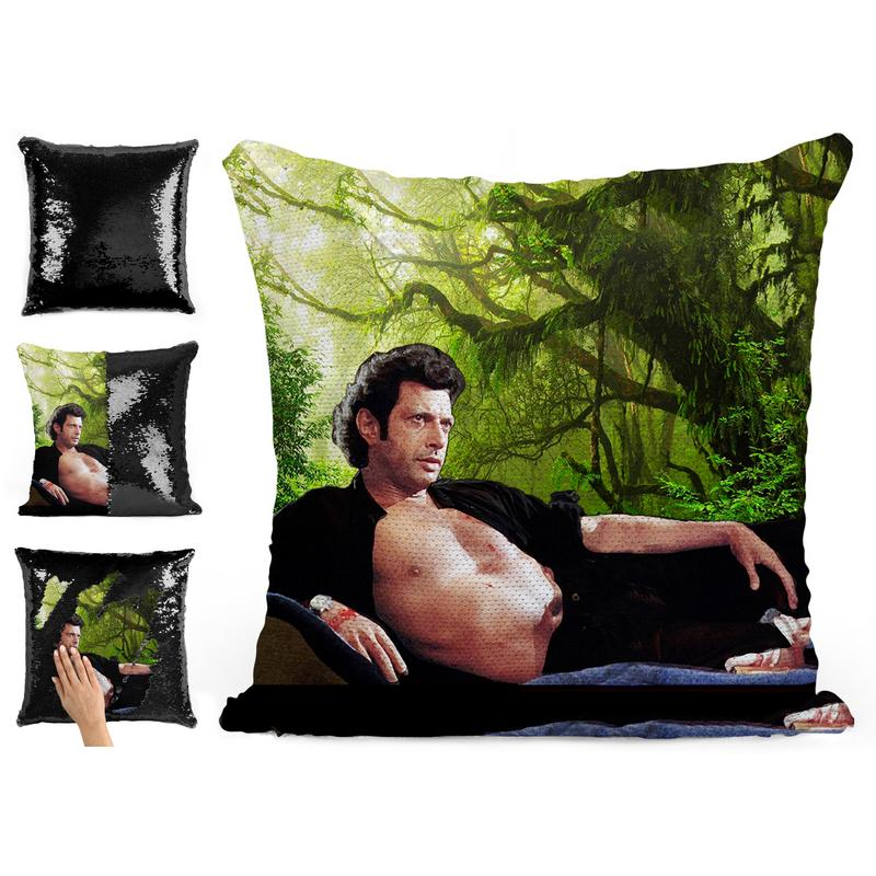 JEFF GOLDBLUM TOPLESS SEQUIN PILLOW