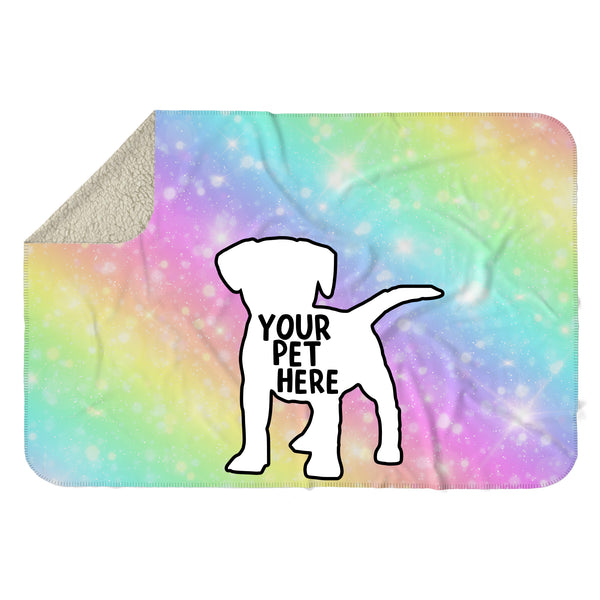CUSTOM PET RAINBOW GRADIENT SHERPA BLANKET