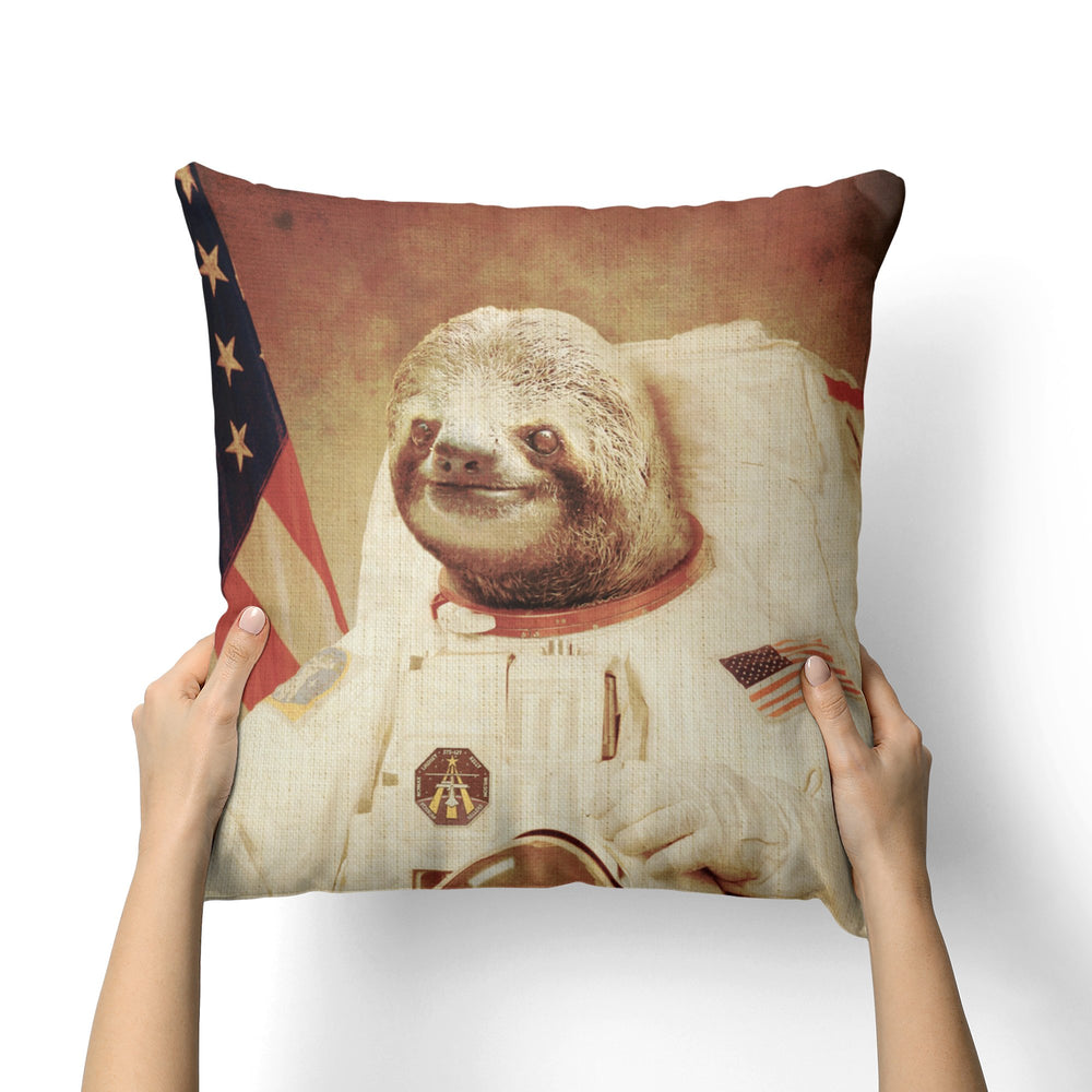 SLOTH ASTRONAUT CANVAS PILLOW
