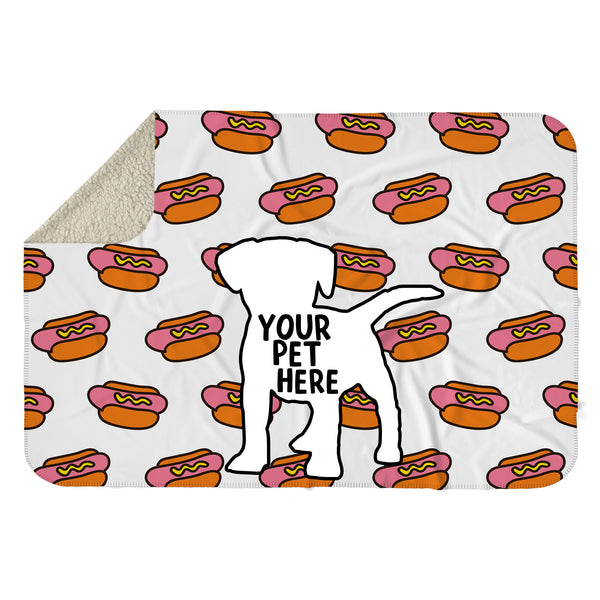 CUSTOM PET HOT DOG SHERPA BLANKET