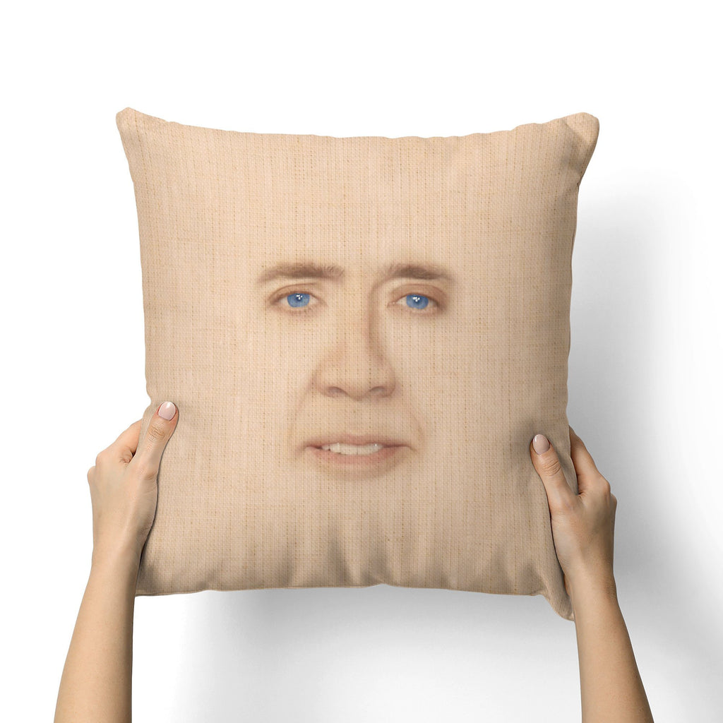 NICOLAS CAGE FACE CANVAS PILLOW