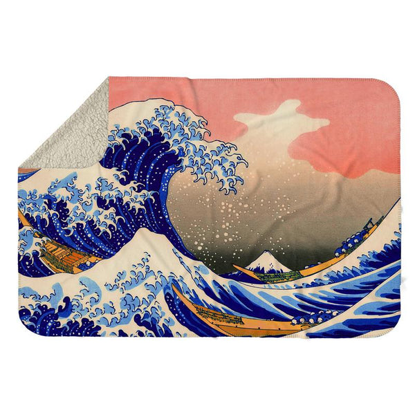 GREAT WAVE OFF KANAGAWA SHERPA BLANKET
