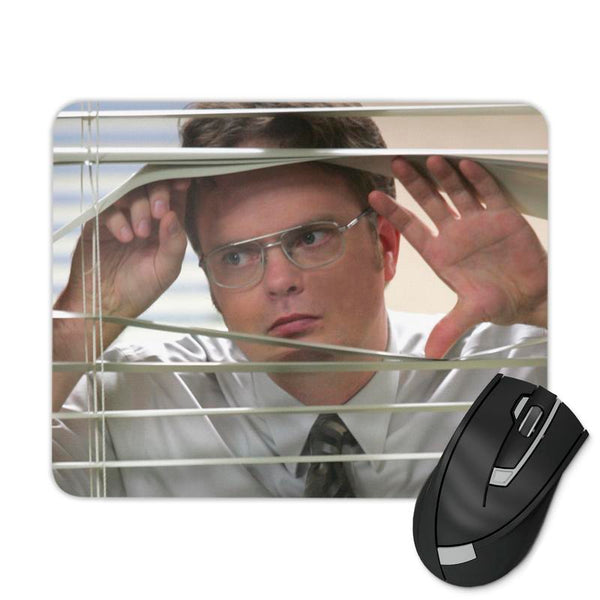 PEEPING BLINDS DWIGHT MOUSE PAD