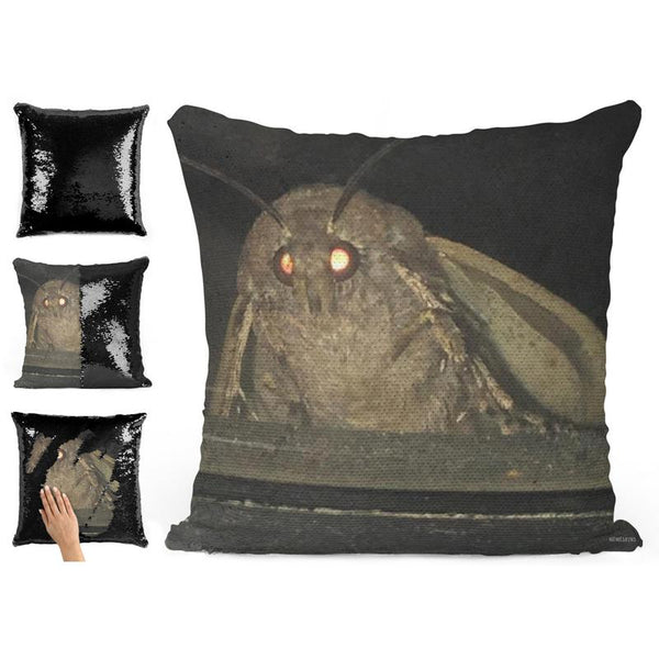 MOTH MEME SEQUIN PILLOW