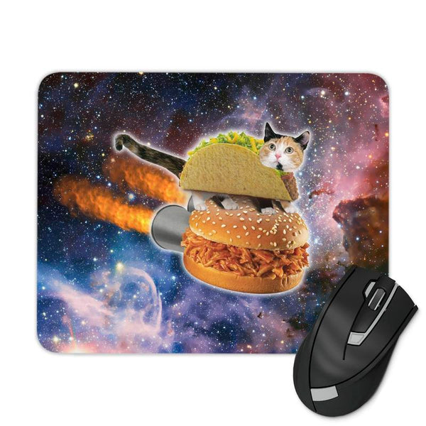 FLYING SPACE TACO CAT MOUSE PAD