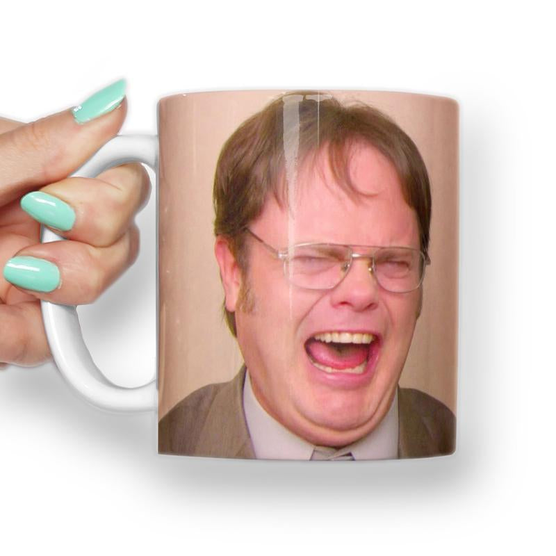 DWIGHT SCHRUTE LAUGHING MEME MUG