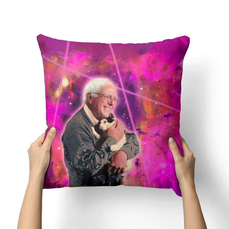 BERNIE SANDERS CAT LASERS CANVAS PILLOW