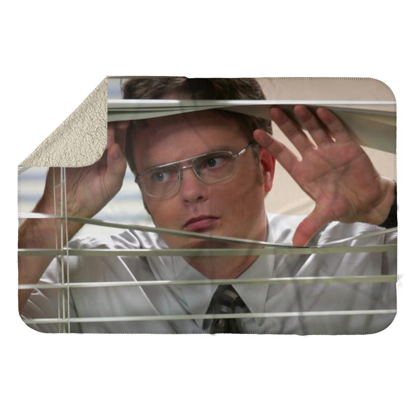 DWIGHT SCHRUTE PEEPING BLINDS SHERPA BLANKET