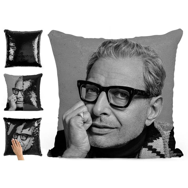 BLACK JEFF GOLDBLUM SEQUIN PILLOW