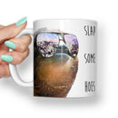 GANGSTER SLOTH SLAP SOME HOES MEME MUG