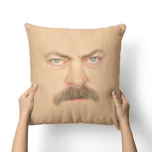 RON SWANSONS FACE CANVAS PILLOW
