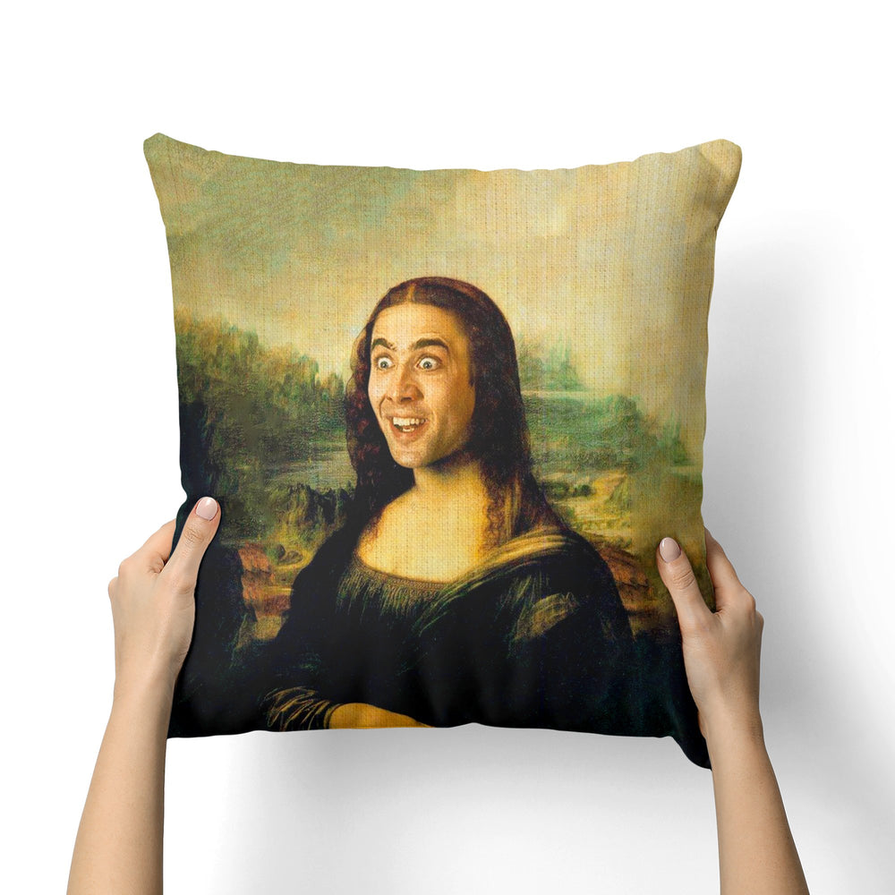 MONA LISA NICOLAS CAGE CANVAS PILLOW