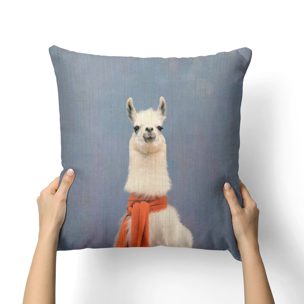 LLAMA SCARF CANVAS PILLOW