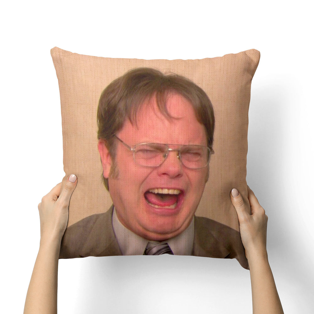 DWIGHT SCHRUTE LAUGHING CANVAS PILLOW