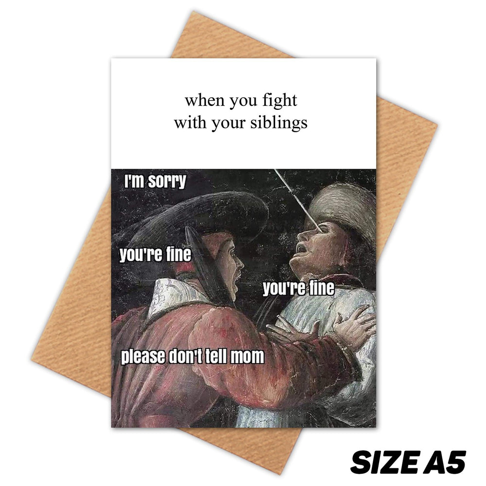 FIGHTING WITH SIBLINGS MEDIEVAL MEME HAPPY BIRTHDAY CARD