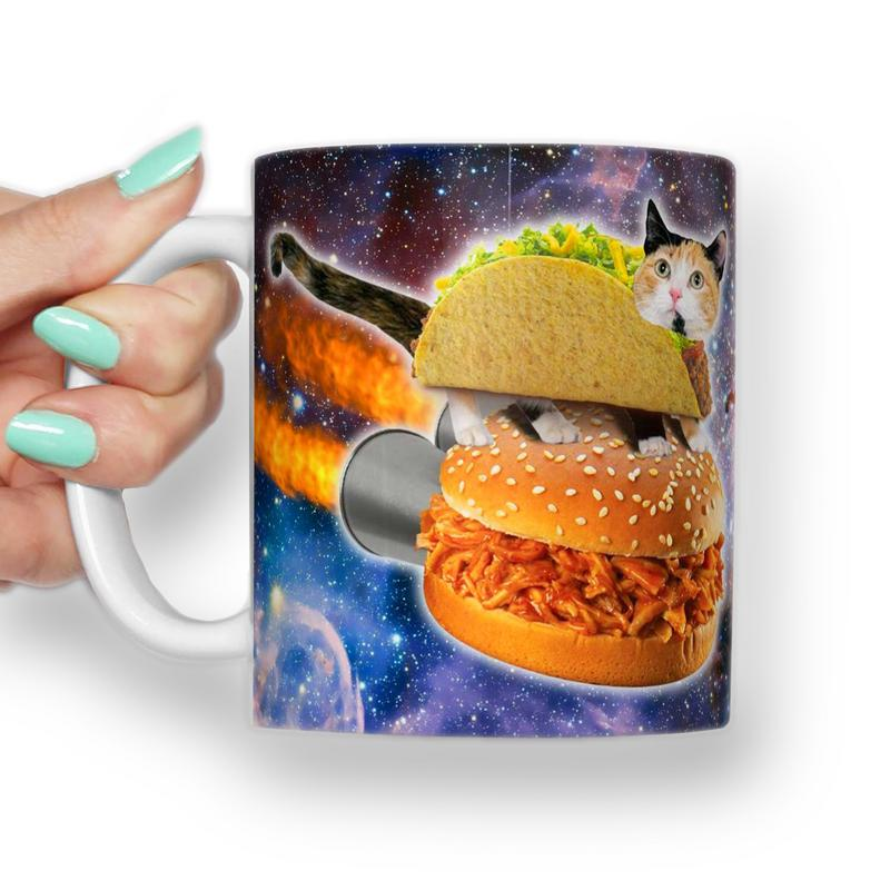 TACO CAT BURGER MEME MUG