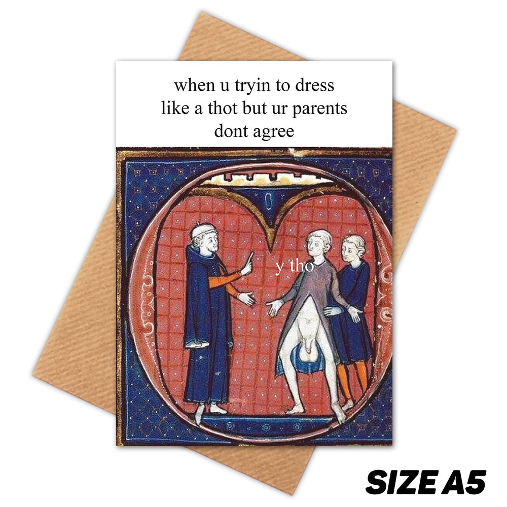 THOT BALLS MEDIEVAL MEME HAPPY BIRTHDAY CARD