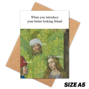 BUSHING HIDING MEDIEVAL MEME HAPPY BIRTHDAY CARD