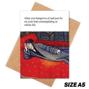 CONTEMPLATING LIFE MEDIEVAL MEME HAPPY BIRTHDAY CARD