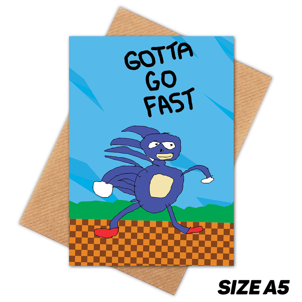 GOTTA GO FAST SANIC HAPPY BIRTHDAY CARD