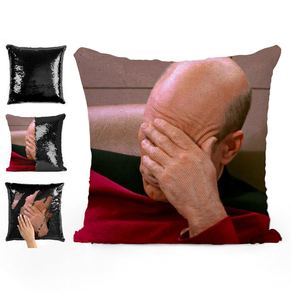 PICARD MEME SEQUIN PILLOW
