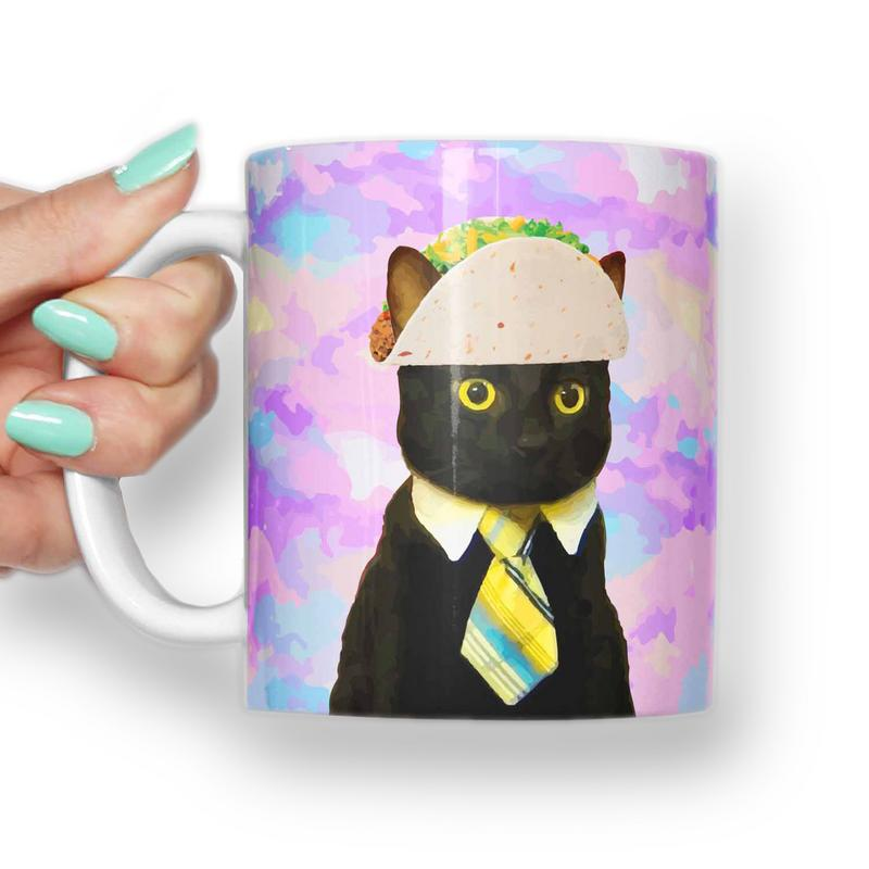 TACO BUSINESS CAT MEME MUG