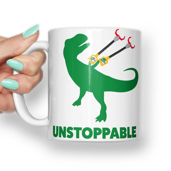 T REX UNSTOPPABLE HAND CLAWS MEME MUG