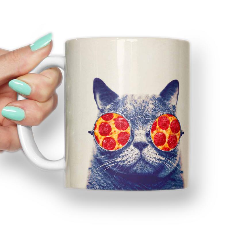 Cat pizza glasses Mug