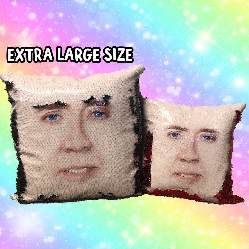 BLUE NICOLAS CAGE SEQUIN PILLOW