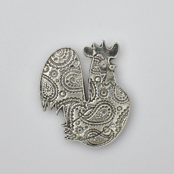 Paisley Rooster, pewter magnet