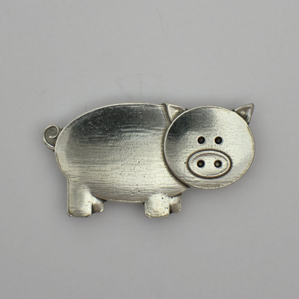 Peaches the Pig, pewter magnet