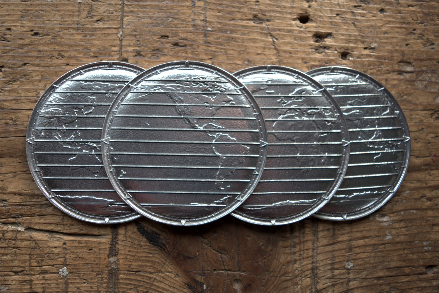 World Atlas Pewter Coasters- Set of Four