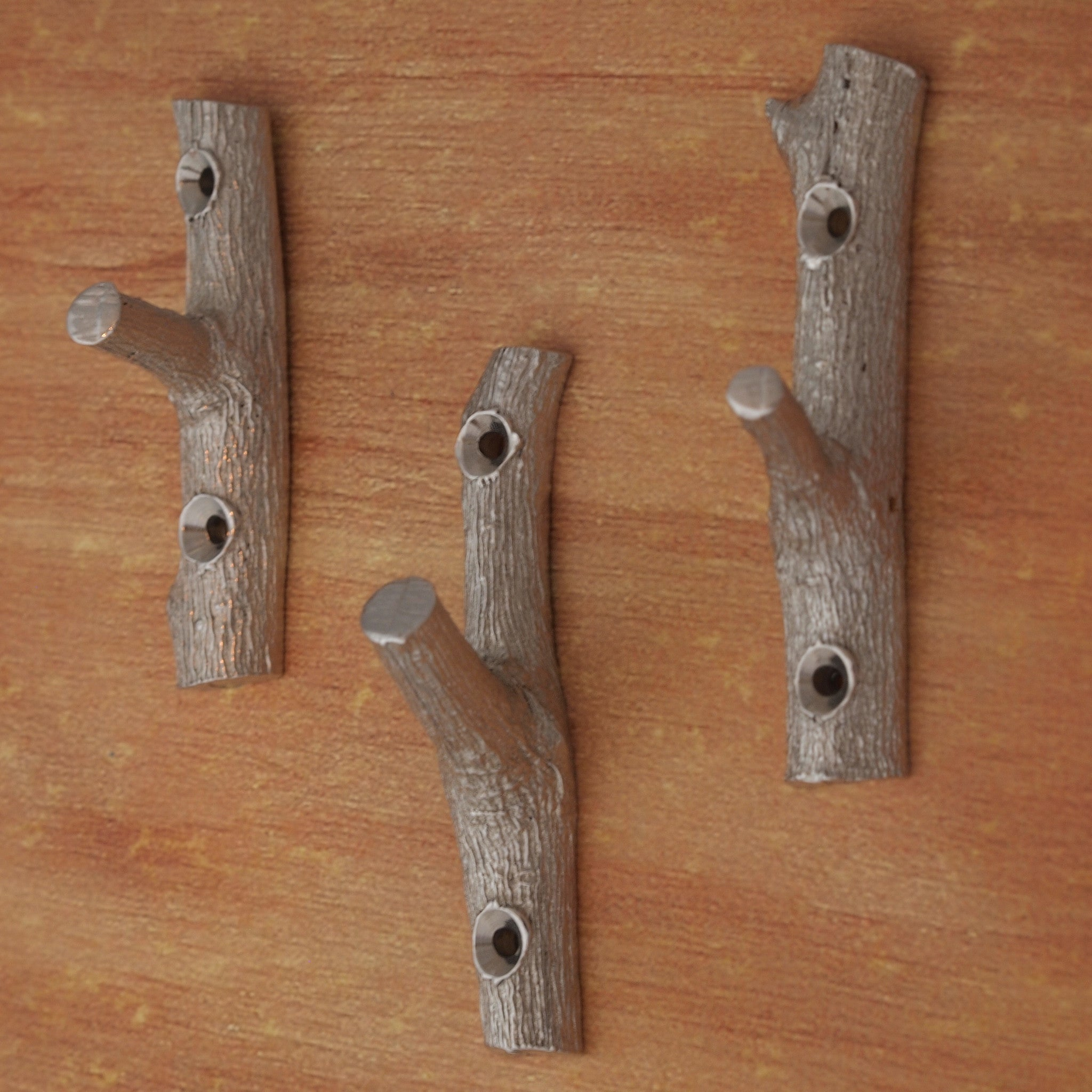 Three Branch Hooks- Pewter Wall/Coat Hooks Molded from a Flowering Cherry Tree