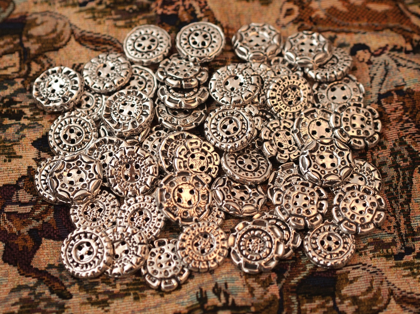 Fifteen Assorted Pewter Buttons