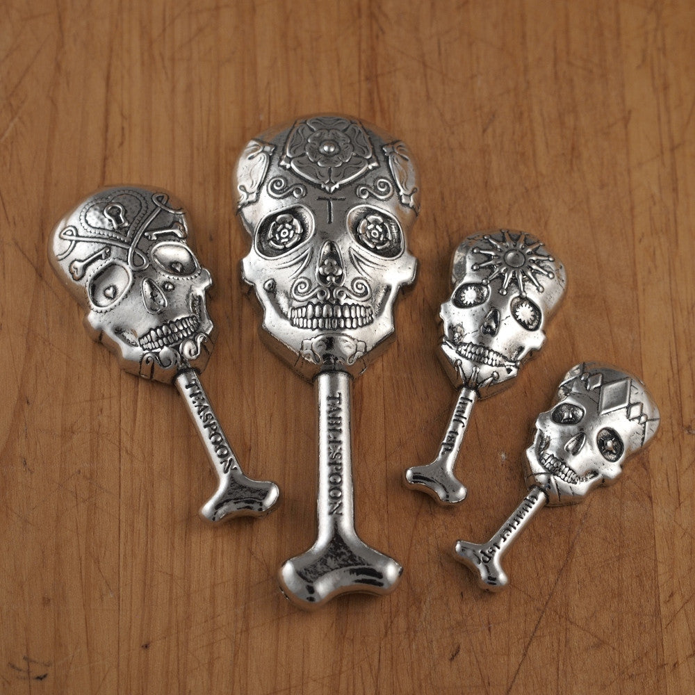 Calavera Measuring Spoons- Set of Pewter Sugar Skulls