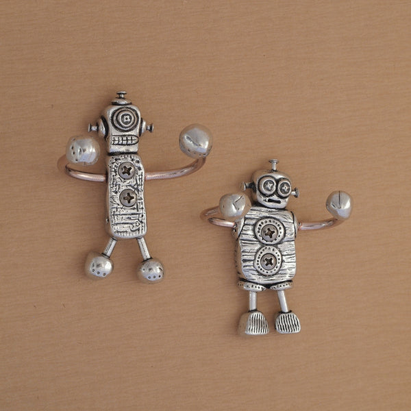 We Are the Robots, Pair of Pewter and Copper Wall Hooks