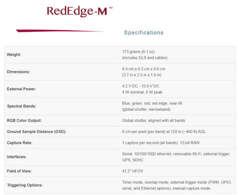 MicaSense RedEdge-M Specifications