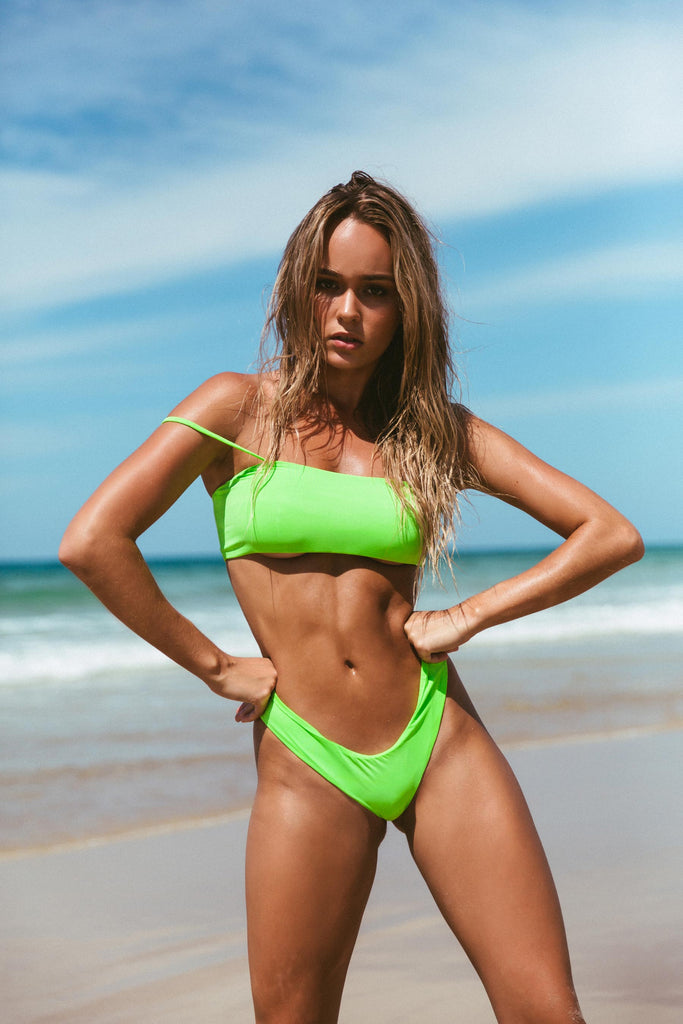 frankie swimwear frankii swim barbados bottoms cannes crop lime green electric neon matte seamless bikini frankieswimwear frankieswim