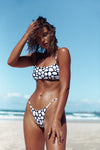 frankie swimwear frankii swim ohana top and bottoms paloma white with black pebble print seamless bikini frankieswimwear frankieswim