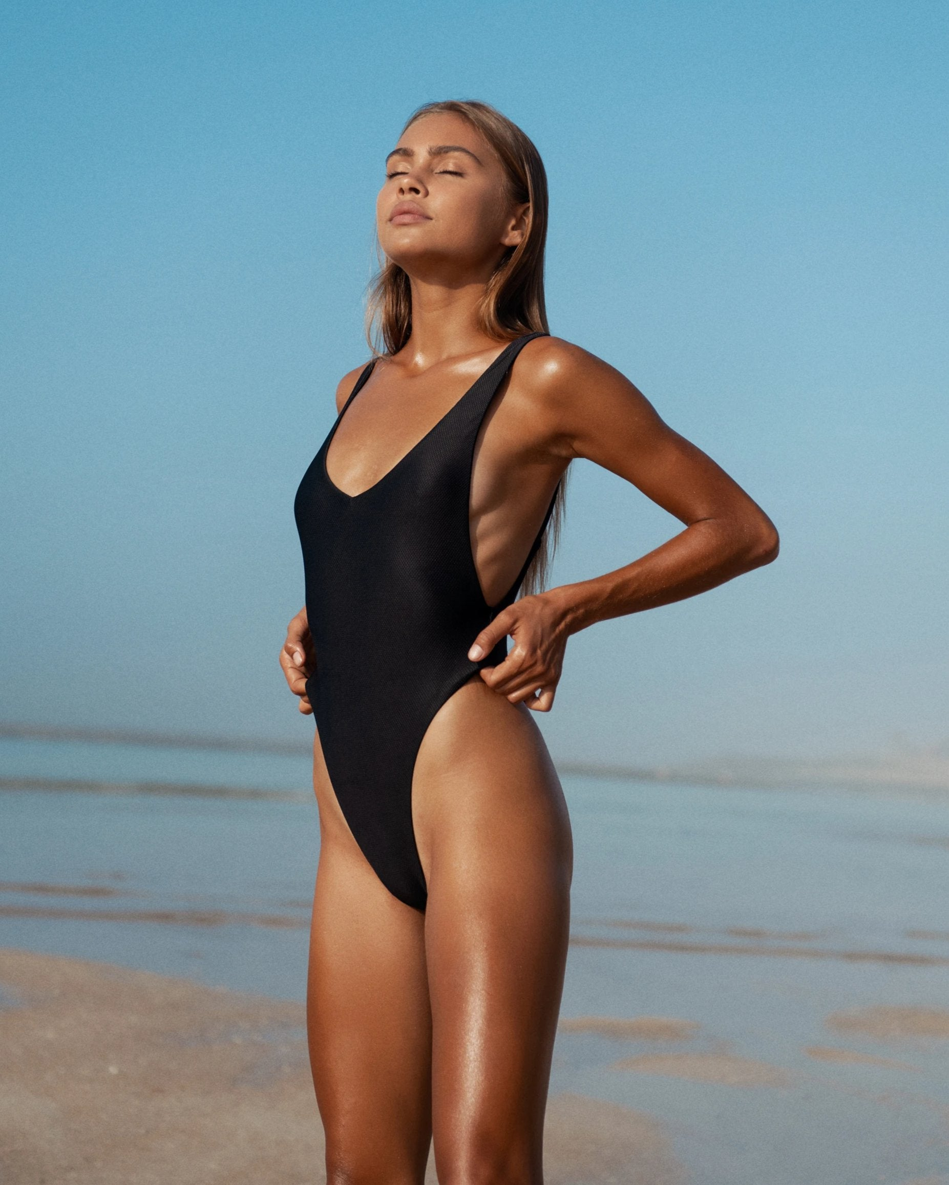 iixiist Crawford Bodysuit Ink Black One Piece Bikini Seamless Swimwear frankiiswim frankie swim frankie swimwear