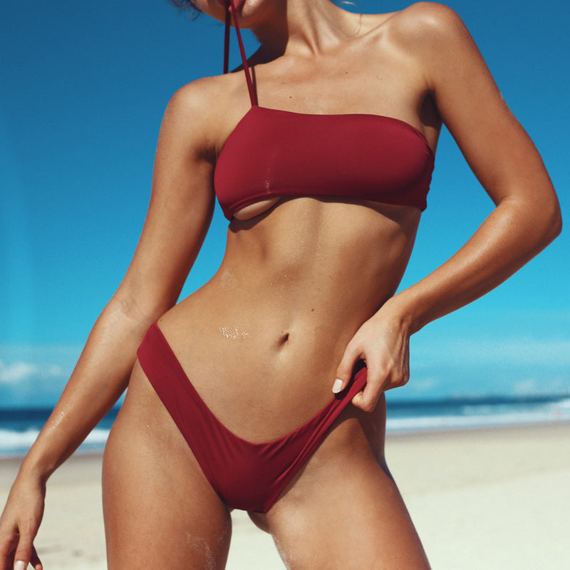 iixiist Cherry Cannes Crop Deep Red Plum One Shoulder Seamless Swimwear Frankii Swim Frankie Swim Frankie Swimwear