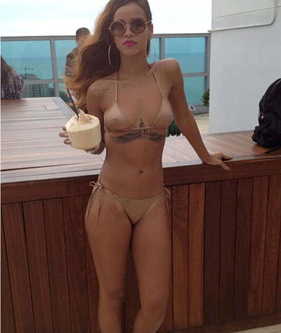 Rihanna wears the iixiist Brazilian Bikini Bottom in Cinnamon. Seamless Swim FrankiiSwim Frankie Swimwear Frankie Swim